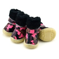 PETSOO Puppy Shoes Camo PU leather Dog Shoes winter Dog
