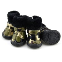 Camo PU leather Dog Shoes winter Dog Boots - Gold-Petsoo.com