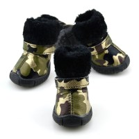 PETSOO Puppy Shoes Camo PU leather Dog Shoes winter Dog ...