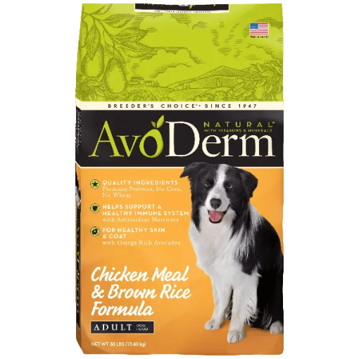 AvoDerm Natural Adult Chicken Meal & Brown Rice Formula.