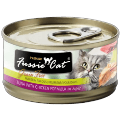 Fussie Cat Premium Tuna with Chicken Canned Food.