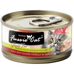 Fussie Cat Premium Tuna with Salmon Canned Food.