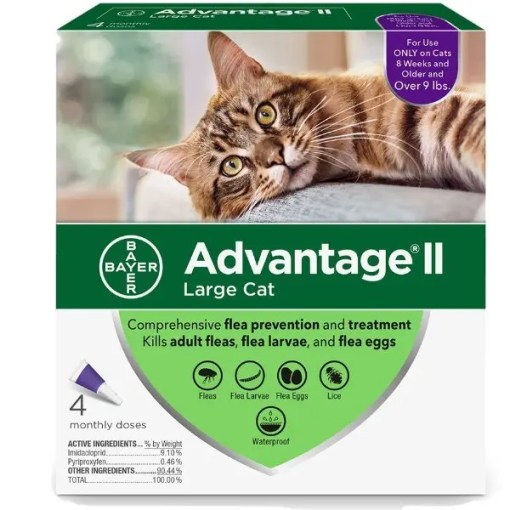 Advantage II Flea Treatment for Large Cats Over 9 lbs 4 Pack.
