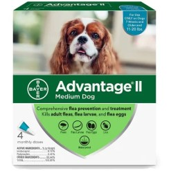 Advantage II Flea Treatment for Medium Dogs 11-20 lbs 4 Pack.
