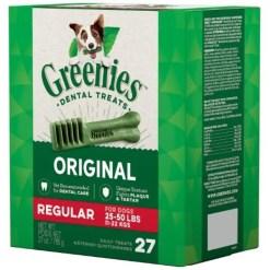 Greenies Regular Dental Dog Treats, 27 Treat Box.