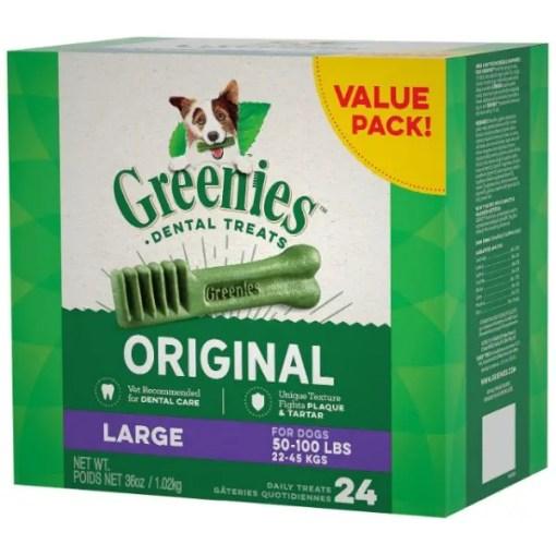 Greenies Large Dental Dog Treats, 24 Treat Box.
