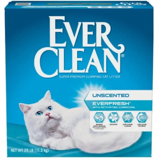 Ever Clean EverFresh Unscented Activated Charcoal Clumping Clay Cat Litter, 25-lb box.