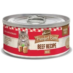 Merrick Purrfect Bistro Beef Pate Grain-Free Canned Cat Food, 5.5-oz Can.