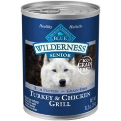 Blue Buffalo Wilderness Turkey & Chicken Grill Grain-Free Senior Canned Dog Food, 12.5-oz