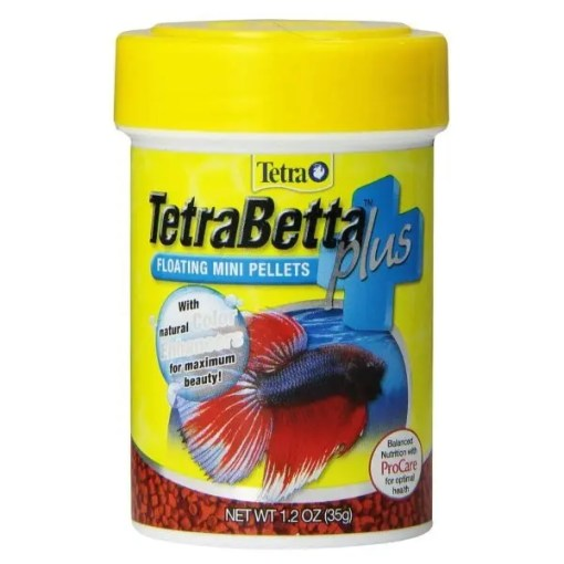 Tetra Betta Plus Floating Mini Pellet Fish Food, 1.2-oz Jar.