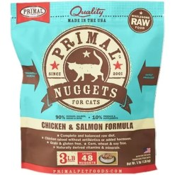 Primal Raw Frozen Chicken & Salmon Formula Nuggets Cat Food, 3-lb Bag.