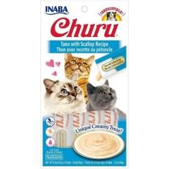 Inaba Churu Grain-Free Tuna with Scallop Puree Lickable Cat Treat, 4 Tube Pack.
