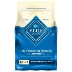 Blue Buffalo Adult Chicken & Brown Rice Recipe Dry Dog Food, 6-lb Bag.