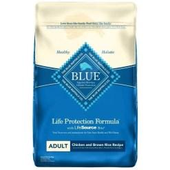 Blue Buffalo Adult Chicken & Brown Rice Recipe Dry Dog Food, 15-lb Bag.