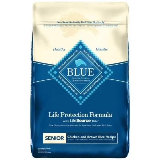 Blue Buffalo Life Protection Formula Senior Chicken & Brown Rice Recipe Dry Dog Food, 33-lb Bag.