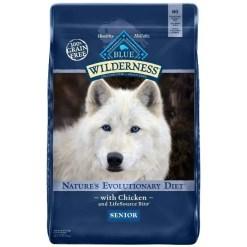 Blue Buffalo Wilderness Senior Chicken Recipe Grain-Free Dry Dog Food, 24-lb Bag.