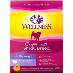 Wellness Small Breed Complete Health Adult Healthy Weight Turkey & Brown Rice Recipe Dry Dog Food, 12-lb Bag.