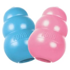 KONG Puppy Dog Toy, Small Colors. Blue and pink.