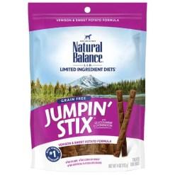 Natural Balance Limited Ingredient Diets Jumpin' Stix Venison & Sweet Potato Formula Dog Treats, 5-oz Bag.