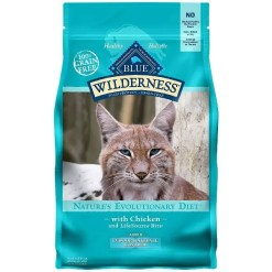 Blue Buffalo Wilderness Chicken Recipe Indoor Hairball Control Grain-Free Dry Cat Food, 5-lb Bag.
