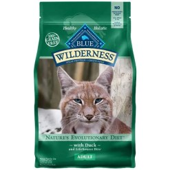 Blue Buffalo Wilderness Duck Recipe Grain-Free Dry Cat Food, 5-lb Bag.