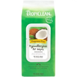 TropiClean Hypoallergenic Deodorizing Dogs Wipes, 100 Count.