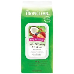 TropiClean Deep Cleaning Deodorizing Dogs Wipes, 100 Count.