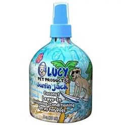 Lucy Pet Products Surfin' Jack Coconut Leave-In Conditioning Dog & Cat Spray, 8-oz Bottle.