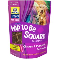 Lucy Pet Products Hip To Be Square Chicken & Pumpkin Formula Grain-Free Dog Treats, 6-oz Bag.