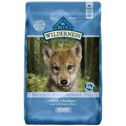 Blue Buffalo Wilderness Puppy Chicken Recipe Grain-Free Dry Dog Food, 24-lb Bag.