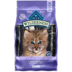 Blue Buffalo Wilderness Kitten Chicken Recipe Grain-Free Dry Cat Food, 2-lb Bag.