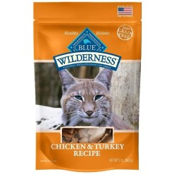 Blue Buffalo Wilderness Chicken & Turkey Grain-Free Cat Treats, 2-oz bag.