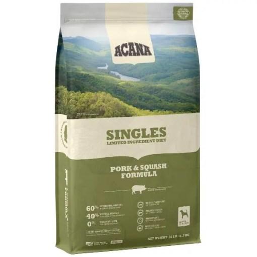 Acana Singles Pork & Squash Dog Food, 25-lb Bag.