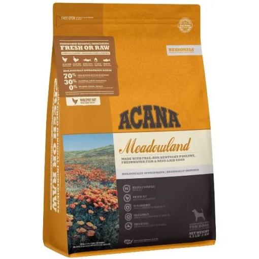 Acana Regional Meadowland Grain-Free Dog Food, 4.5-lb Bag.