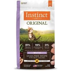 Instinct Original Kitten Chicken Grain-Free Recipe with Freeze-Dried Raw Coated Dry Cat Food, 4.5-lb Bag.