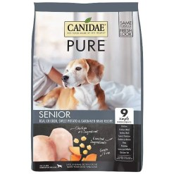 CANIDAE Grain-Free PURE Senior Real Chicken, Sweet Potato & Garbanzo Bean Recipe Dry Dog Food, 4-lb Bag.