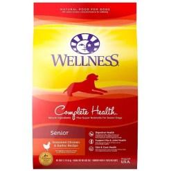 Wellness Complete Health Senior Deboned Chicken & Barley Recipe Dry Dog Food, 30-lb Bag.