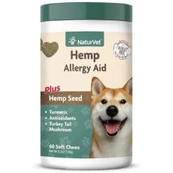 NaturVet Hemp Allergy Aid Plus Hemp Seed Dog Soft Chews, 60 Count.