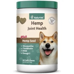 NaturVet Hemp Joint Health Plus Hemp Seed Soft Chews Dog Supplement, 60 Count.
