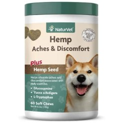 NaturVet Hemp Aches & Discomfort Plus Hemp Seed Dog Soft Chews, 60 Count.