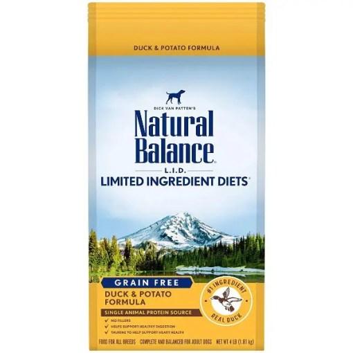 Natural Balance L.I.D. Duck & Potato Formula Grain-Free Dry Dog Food, 4-lb Bag.