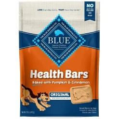 Blue Buffalo Health Bars Baked with Pumpkin & Cinnamon Dog Treats, 16-oz Bag.