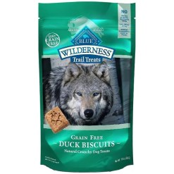 Blue Buffalo Wilderness Trail Treats Duck Biscuits Grain-Free Dog Treats, 10-oz Bag.