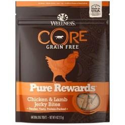 Wellness Pure Rewards Grain-Free Chicken & Lamb Jerky Bites Dog Treats, 4-oz Bag.