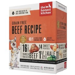 The Honest Kitchen Grain-Free Beef Recipe Dehydrated Dog Food, 10-lb Box, Makes 40-lb of Food.