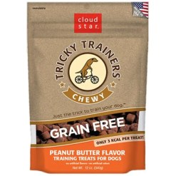 Tricky Trainers Chewy Grain Free Peanut Butter Flavor Dog Treats, 5-oz Bag.
