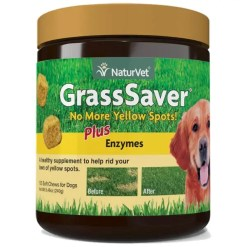 NaturVet GrassSaver Plus Enzymes Soft Chews Dog Supplement, 120 Count.