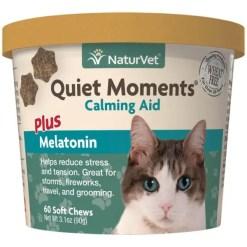 NaturVet Quiet Moments Calming Aid Plus Melatonin Cat Soft Chews, 60 Count.