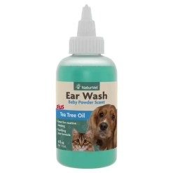 NaturVet Ear Wash Liquid Plus Tea Tree Oil, 4-oz Bottle.