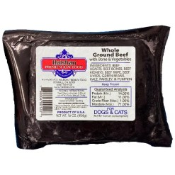 Halshan Premium Raw Food Whole Ground Beef with Bone & Vegetables Frozen Raw Dog Food, 1-lb.